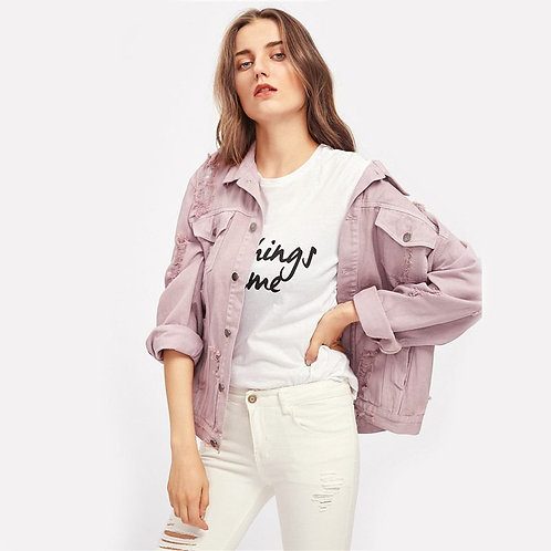 Young Women Fashion Dyeing Denim Casual Oversize Street Style Jacket