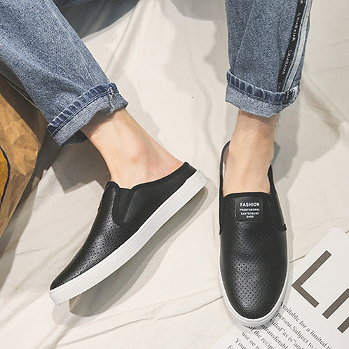 Men Casual Breathable Hollow PU Upper Open-back Loafers