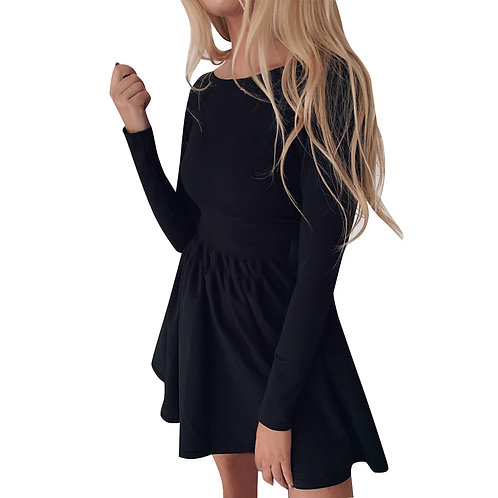 Round Collar Long-sleeve Solid Color Defined Waist Crease Mini Dress