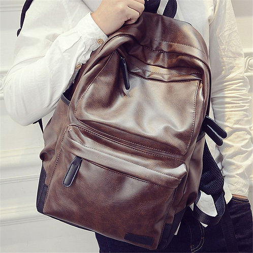 Men Casual Simple Solid Color Design Good Quality PU Backpack