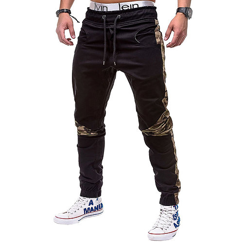 Camouflage Print Patchwork Lace-up Jogger Pants