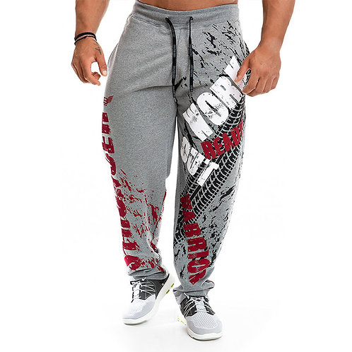 Men Casual Letter Print Drawstring Loose Sports Pants