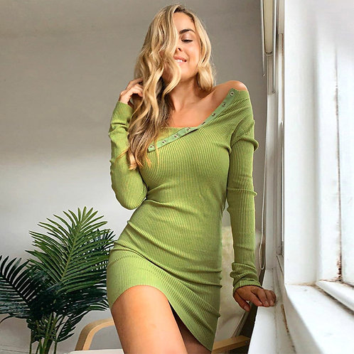 Women Solid Color Long-sleeve Cool-shoulder Bodycon Dress