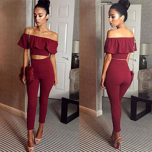 Women Solid Color Off-shoulder Ruffled Crop Top And Leggings Two-piece Sets