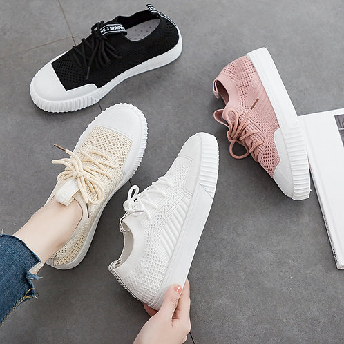 Women Breathable Leisure Lace Up Sneakers Shoes