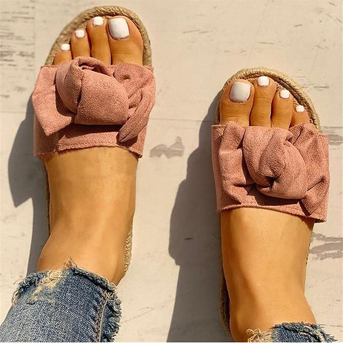 Women Comfortable Bow Decor Linen Slippers