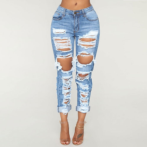 Women Blue Ripped Casual Jeans