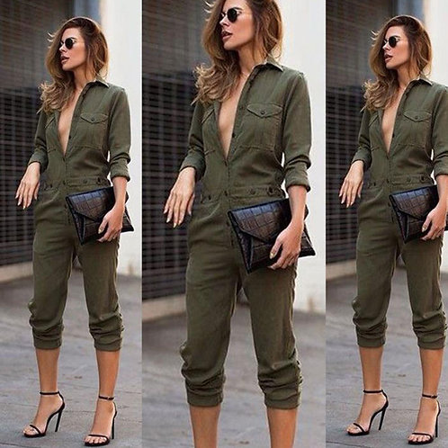 Women Pocket Buttons Design Long Sleeve Overalls Jumpsuits
