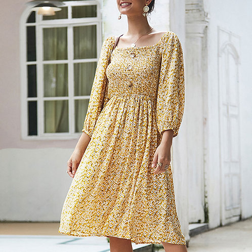 Women Vacation Style Square Neck Long-sleeve Floral Print Midi Dress