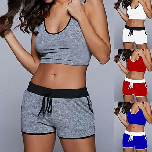 Women Casual Block Color Tank Top And Drawstring Shorts Two-pieces Set