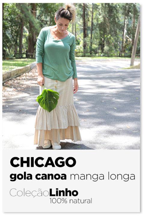 Camiseta em linho Chicago manga longa gola canoa