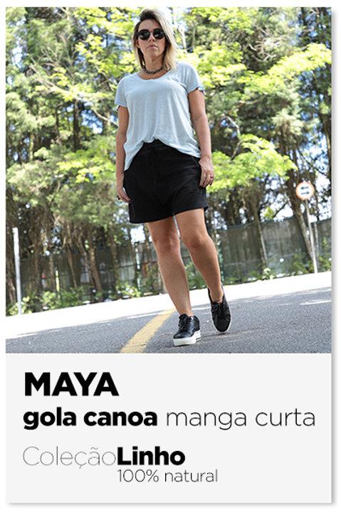 Camiseta em linho Maya gola canoa