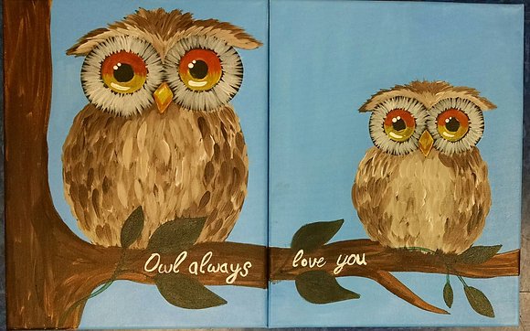"""Owl Always Love You"" Canvas at Tagua Nut Cafe (5/3)"