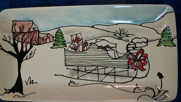 Heirloom Christmas Sleigh Tray Platter (12/10)