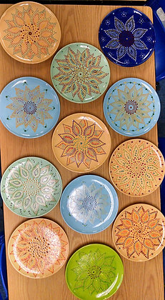 Mandala Sunflower Plate at Oneonta Vets Club (5/8)