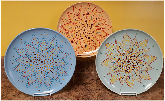 Dot Mandala Sunflower Plate at Theresa's Emporium (8/1)