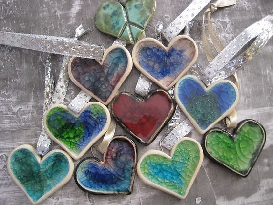 Clay and Glass Heart Pendant (4/7)