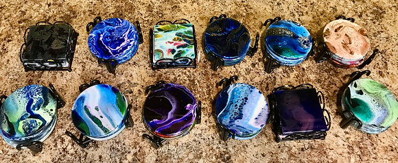 Fluid Art Coasters at Apple Barrel (4/23)
