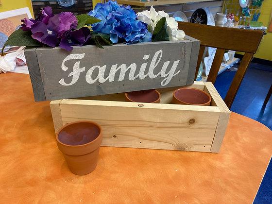 Planter Box with Three Glazed Weatherproof Pots