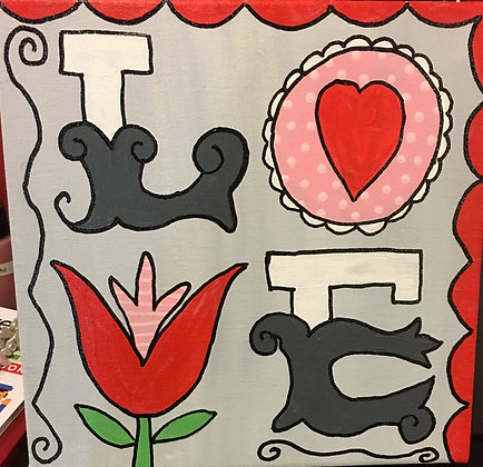 Family Paint 'n Party @ The Studio: LOVE (2/13)