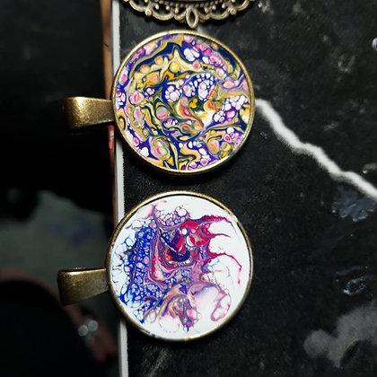 Acrylic Pour Pendant (12/10)