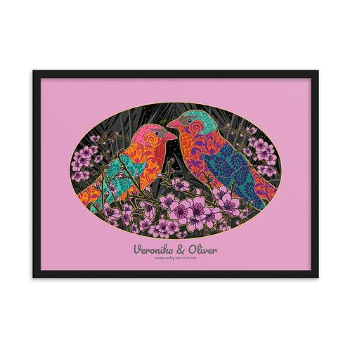 Obraz v čiernom ráme pre dvojicu Slávik v ružovej