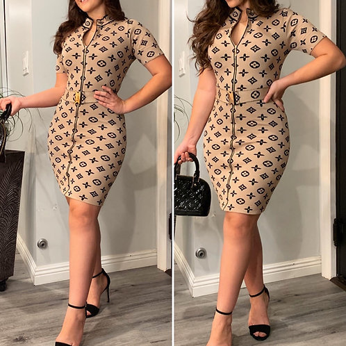 LV INSPIRED DRESS TAUPE