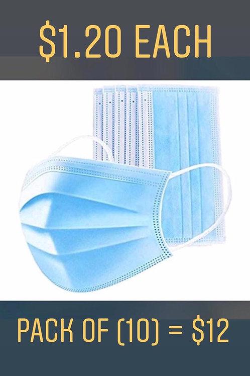 BOX 50 Disposable 3-Ply Face Earloop Sanitary Mask