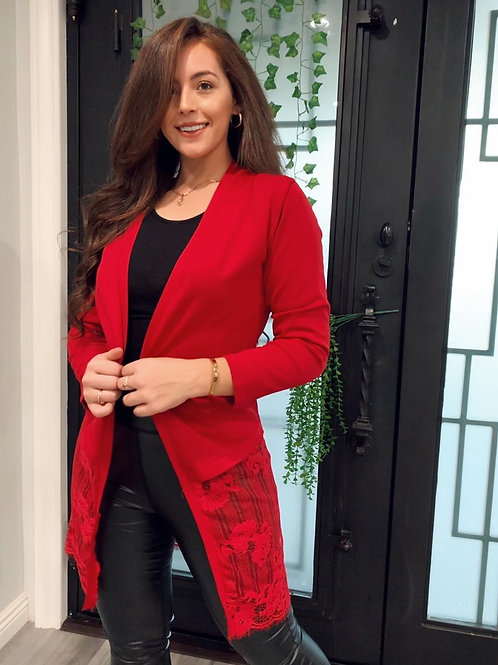 LILY  RED CARDIGAN