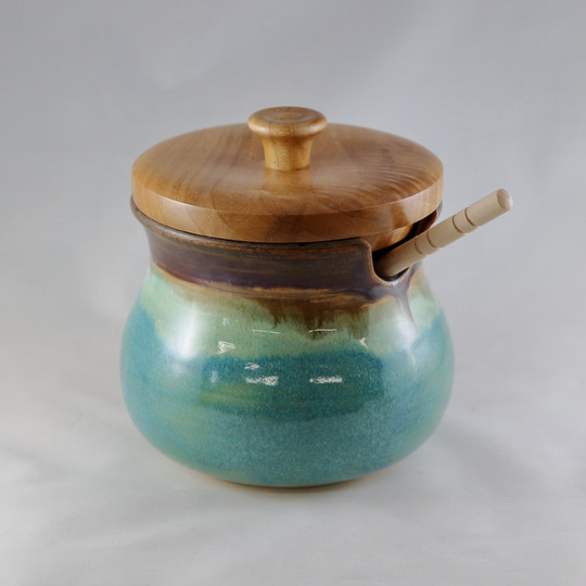 Mossy Forest Honey Pot with Maple