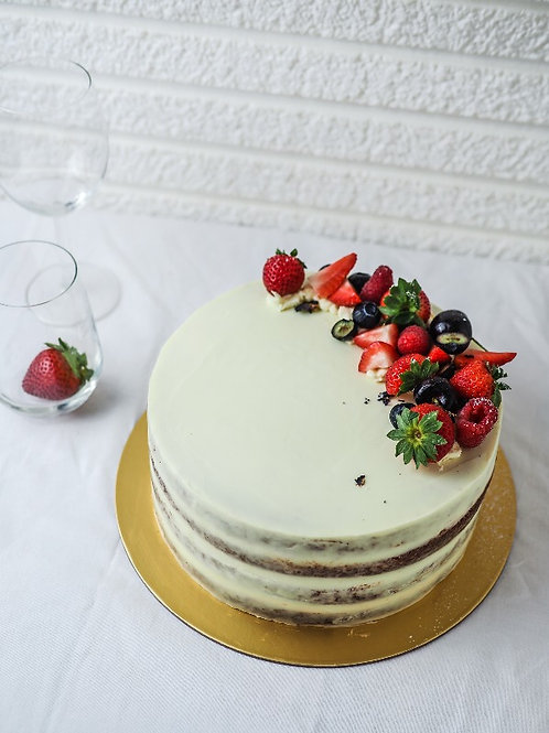 "8"" Naked Vanilla Cake with Berries"
