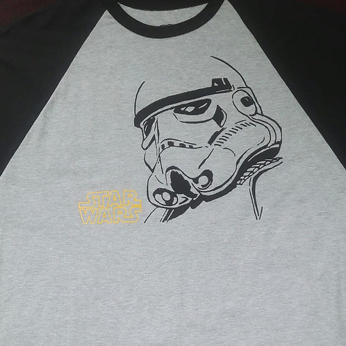 Camiseta Star Wars Raglan Trooper Cinza KGB KGBW1