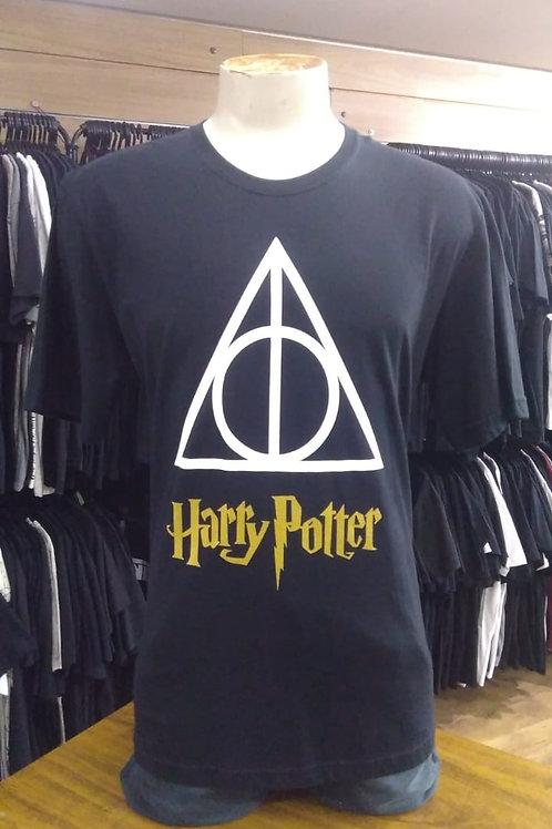 Camiseta Harry Potter Relíquias Da Morte Logo Gold Hcdhp01