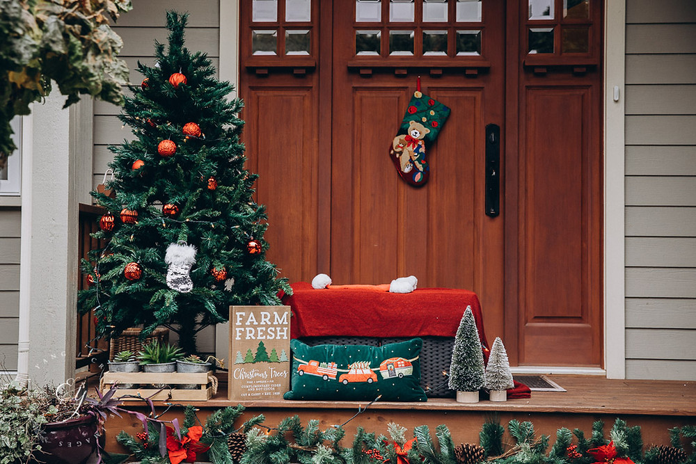 Christmas mini session set up with Christmas tree and traditional red and green decors