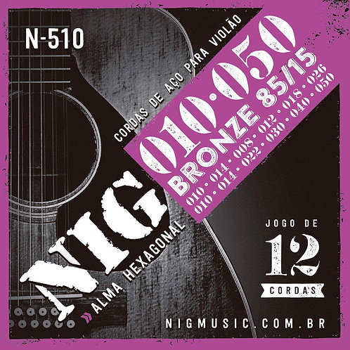 Encordoamento NIG Violão 12 cordas Aço .010 N510
