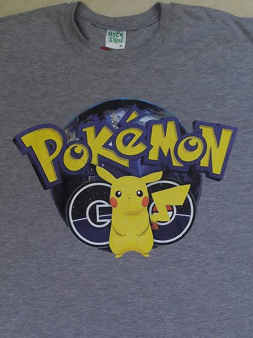 Camiseta Pokemon Picachu Cinza Rock Store RSPM2