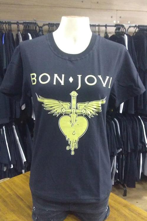 Camiseta Baby Look Bon Jovi Show Malhas RGF02
