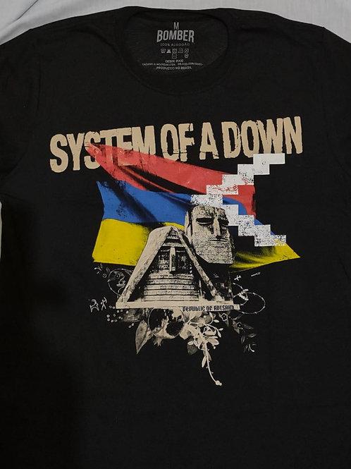 Camiseta System A Down Republic Artsakh Preto Bomber BOSD1