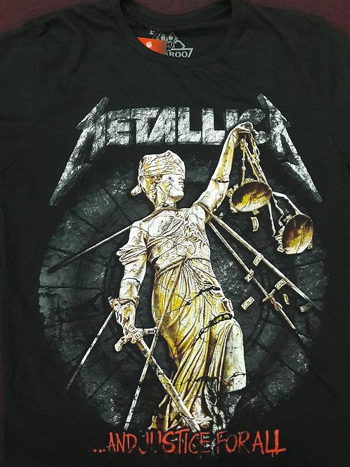 Camiseta Manga Longa Metallica And Justice Preto Bomber BLM1