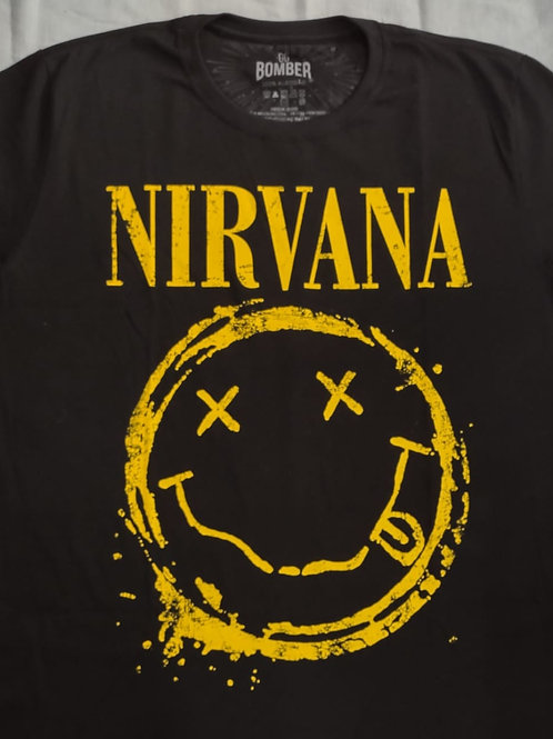 Camiseta Manga Longa Nirvana Logo Bomber BLN01