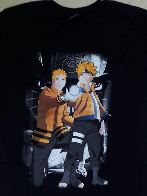 Camiseta Boruto e Naruto Preto HCD HCDN5