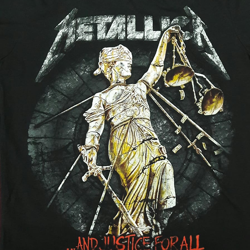 Camiseta Metallica And Justice For All Preto Bomber BZMT6