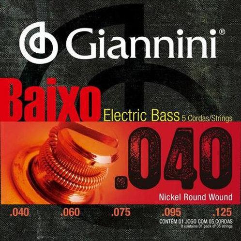 Encordoamento Giannini Baixo 5 cordas .040 GEEBRL5