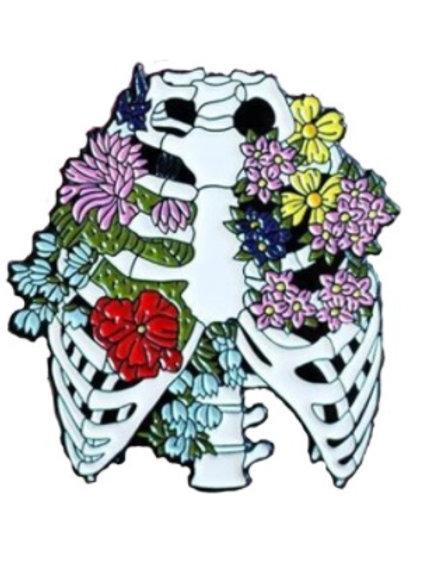 Botton Broche Esqueleto com flores B02