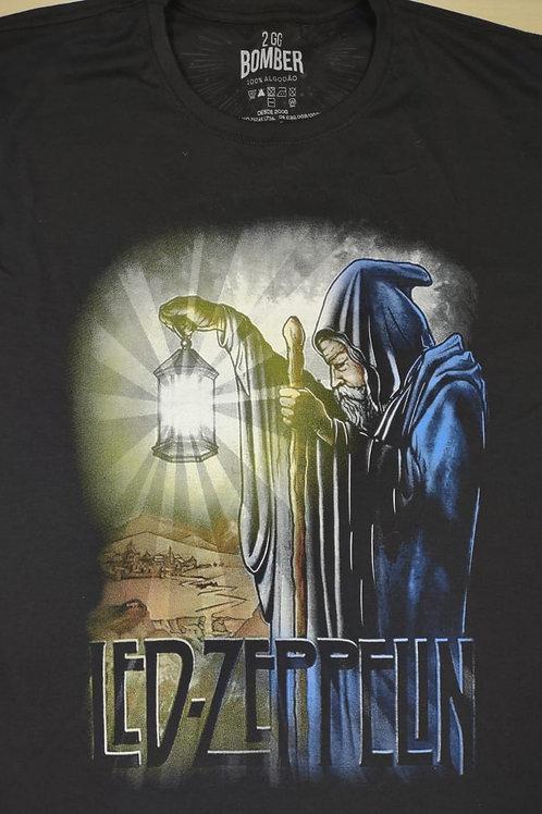 Camiseta Led Zeppelin Plus Size Mago Preto Bomber  BZL03