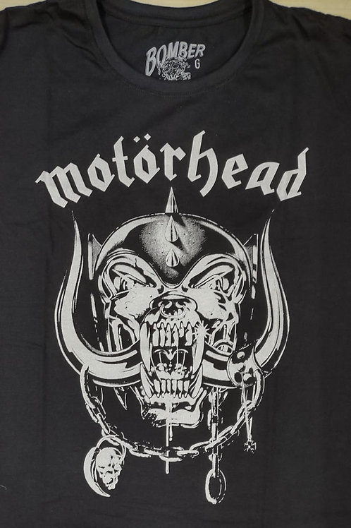 Camiseta Manga Longa Motorhead Brasão Preto Bomber BLM05