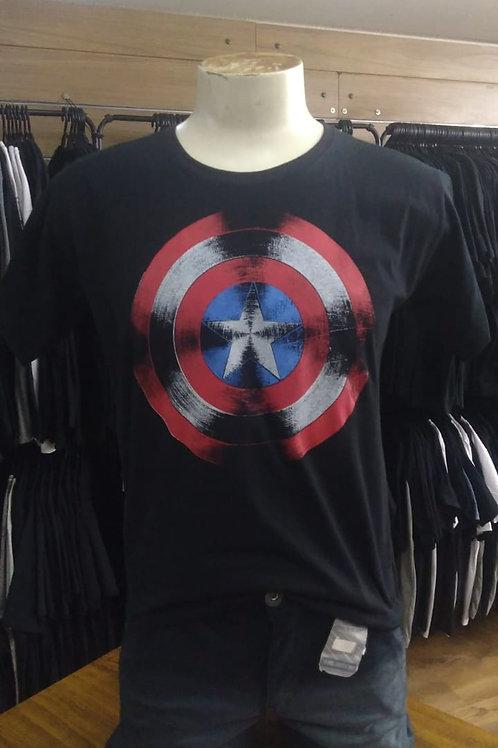 Camiseta Capitão América Escudo Rock Wear RSCABE02