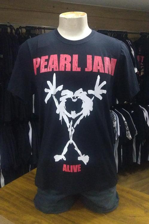 Camiseta Pearl Jam Alive Preto Power Rock PRPJ1