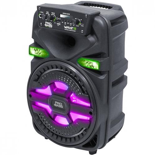 "Caixa Amplificada Pro Bass BT SD USB 8"" 250W Wave8"