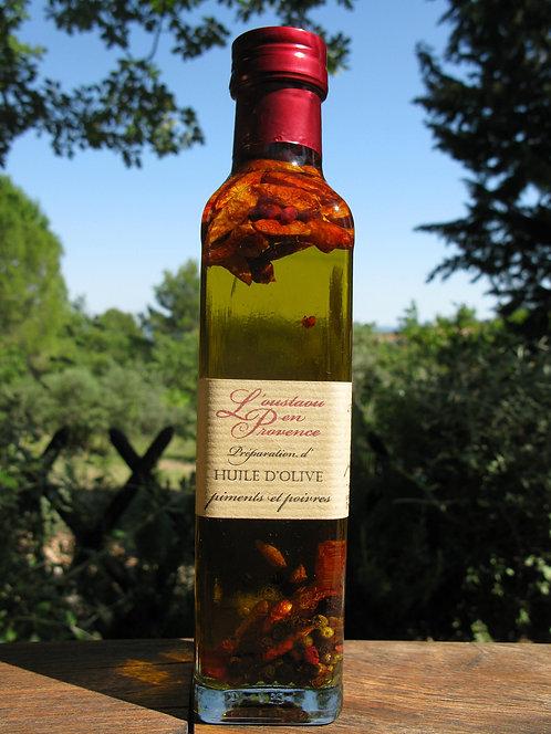 Huile d'olive aux piments et poivres 250ml
